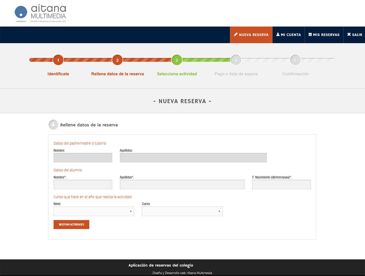 Aplicación Reservas Extraescolares - Aitana Multimedia